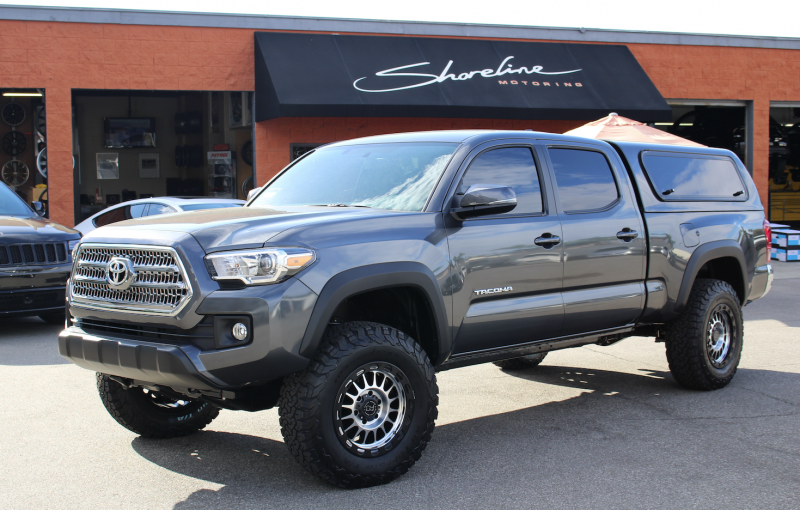 2016 Toyota Tacoma In For 17 Black Rhino Taupo Wheels With A Machined Finish Bfgoodrich Ko2 Tires Leveling Kit And Pedalbox Performance Upgrade To